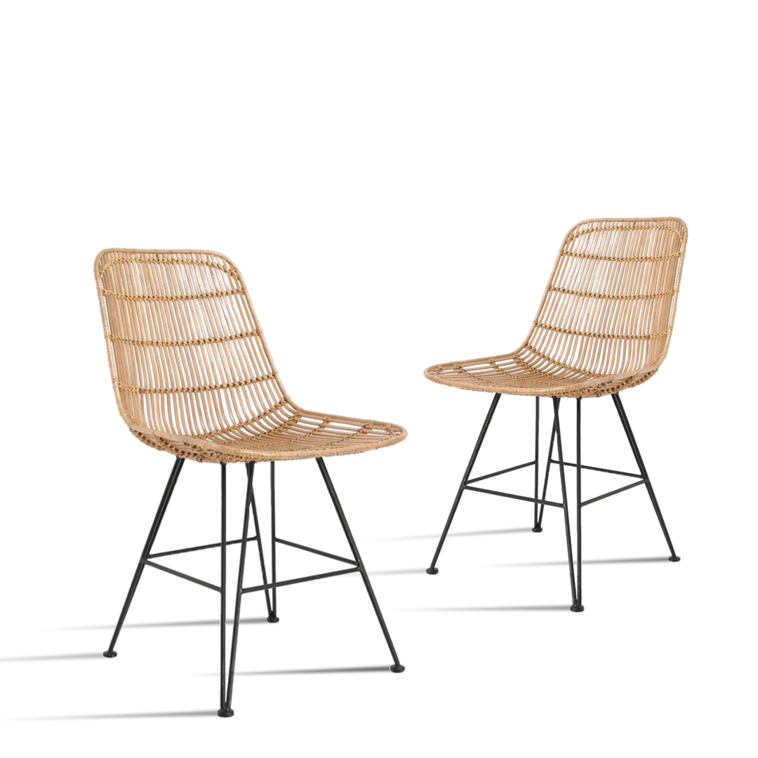HK Living Stuhl Rattan 2er Set super günstig kaufen