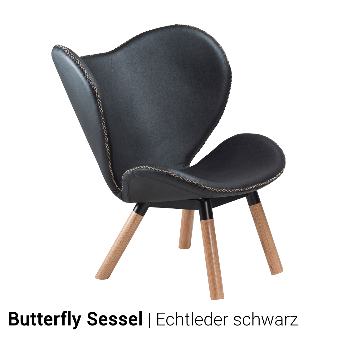 Lounge sessel echt leder schwarz  Loungesessel Butterfly von Dan Form in Leder   BUERADO