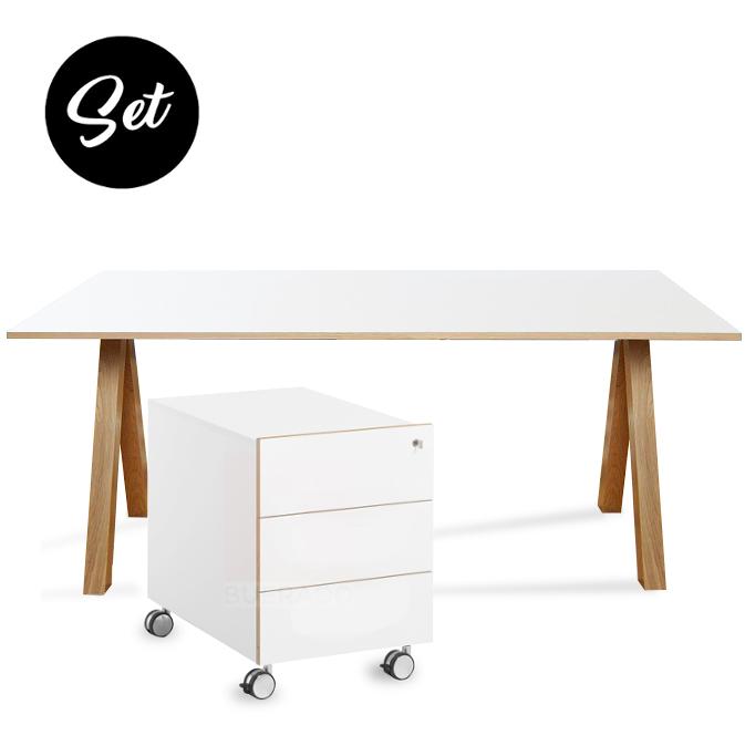 oslo schreibtisch und rollcontainer g nstig im set buerado. Black Bedroom Furniture Sets. Home Design Ideas