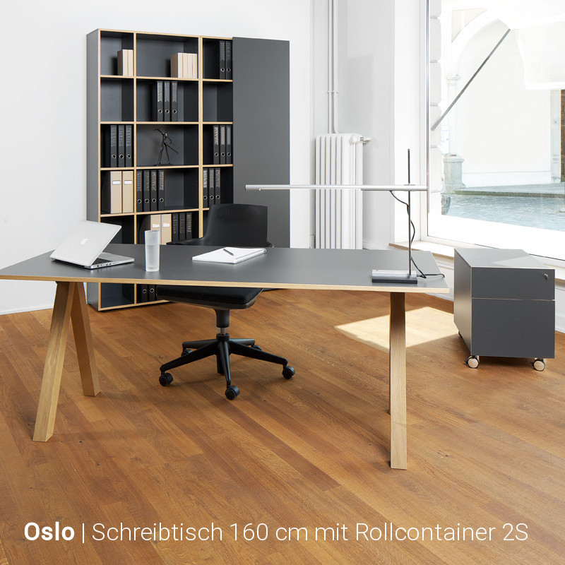 oslo schreibtisch und rollcontainer g nstig im set buerado. Black Bedroom Furniture Sets. Home Design Ideas