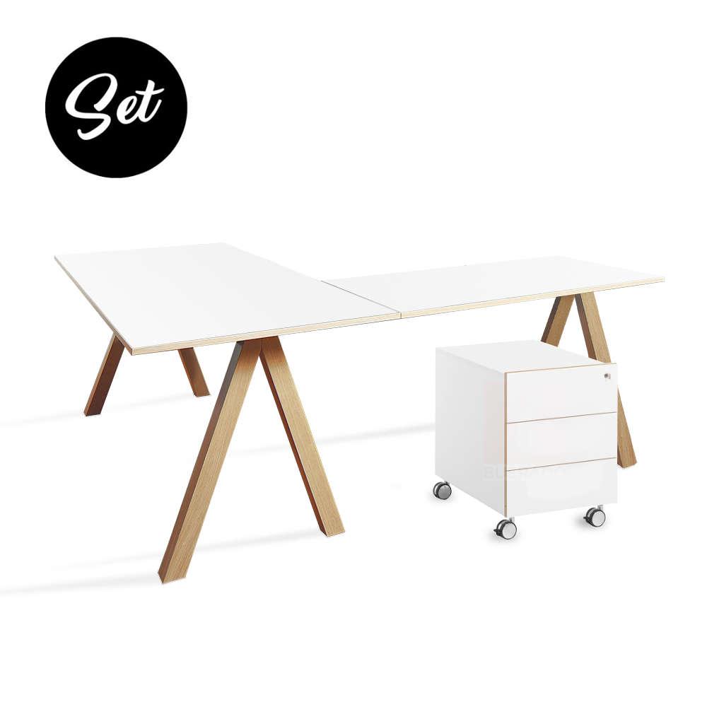 Beeindruckend Schreibtisch Oslo Dekoration Von Set: Eckschreibtisch Mit Rollcontainer Von Reinhard