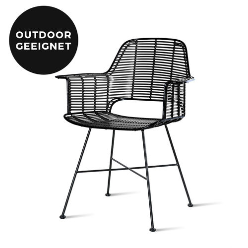 HKliving - Outdoor Rattan Tub Chair Black