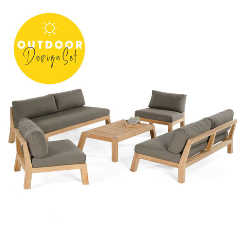 Sonnenpartner - Clifton Lounge-Set Teak (5er-Set)